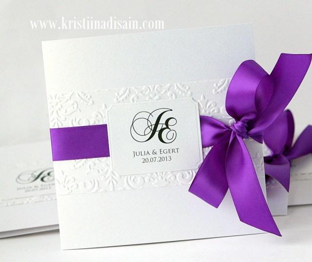 Wedding Invitations With Purple Ribbon White And Purple Wedding Invitations Weddings Pinte