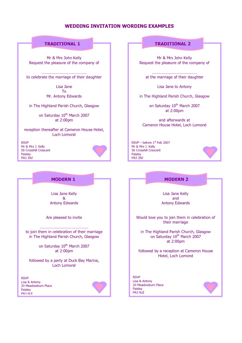 Wedding Invitations Wording Samples Examples Of How To Write A Wedding Invitation Google Search A