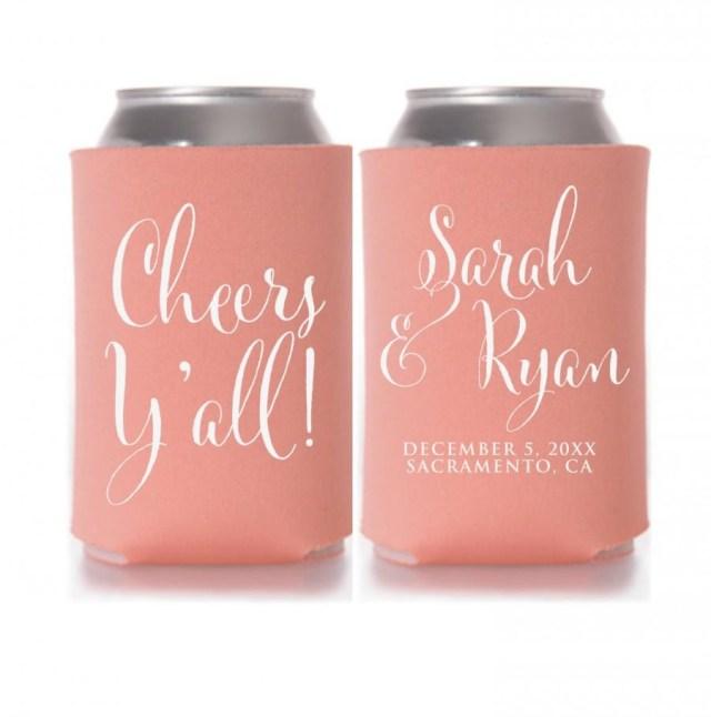 Wedding Koozie Ideas Wedding Koozies Cheers Yall Personalized Can Coolers Wedding