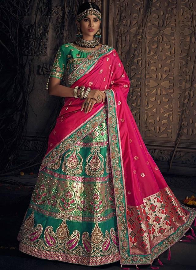 Wedding Lehengas Bridal Buy Green Art Benarasi Silk Bridal Lehenga Benarasi Beads