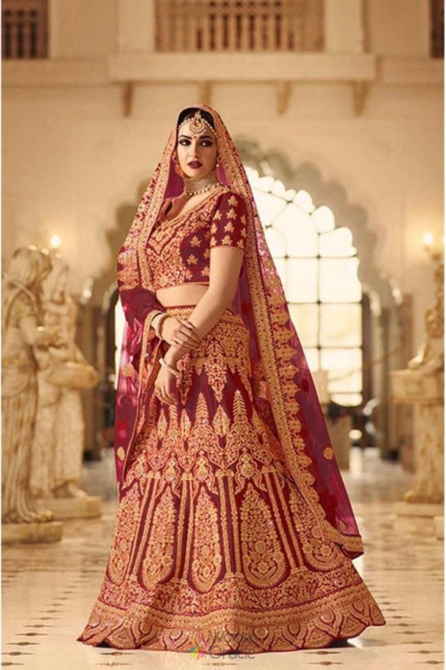 Wedding Lehengas Bridal Maroon Silk With Embroidered Indian Wedding Wear Bridal Lehenga Choli