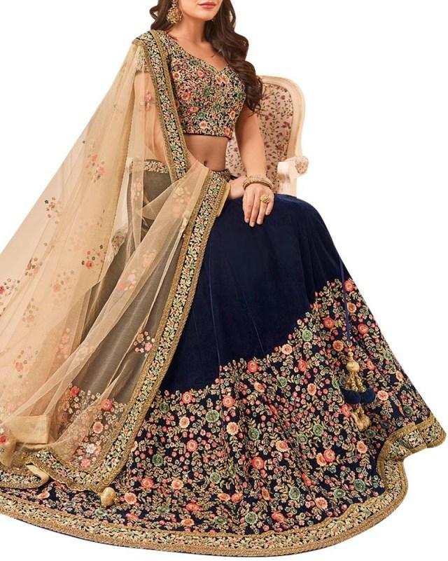 Wedding Lehengas Bridal Shop Bridal And Wedding Lehengas With Zari Work In Velvet Fabric