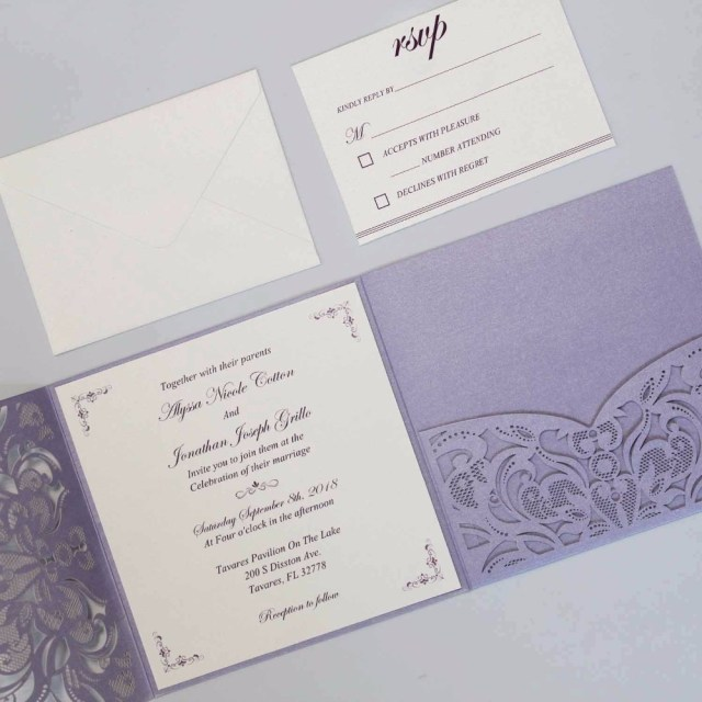 Wedding Pocket Invitations Elegant Laser Cut Wedding Invitations With Rsvp Cards Purple Pocket
