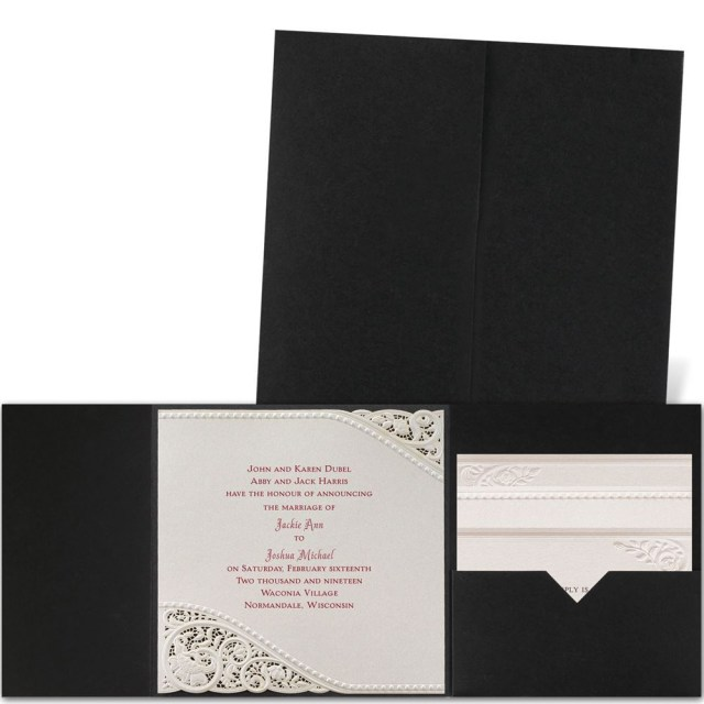 Wedding Pocket Invitations Pearls And Lace Laser Cut Invitation Invitations Dawn