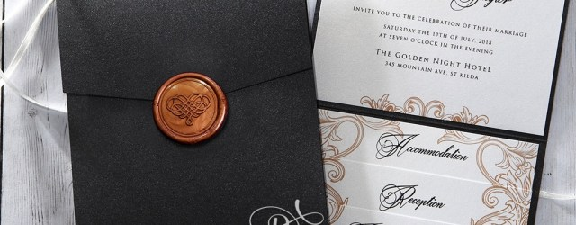 Wedding Pocket Invitations Trifold Pearlized Pocket Invitation Elegant With Seal