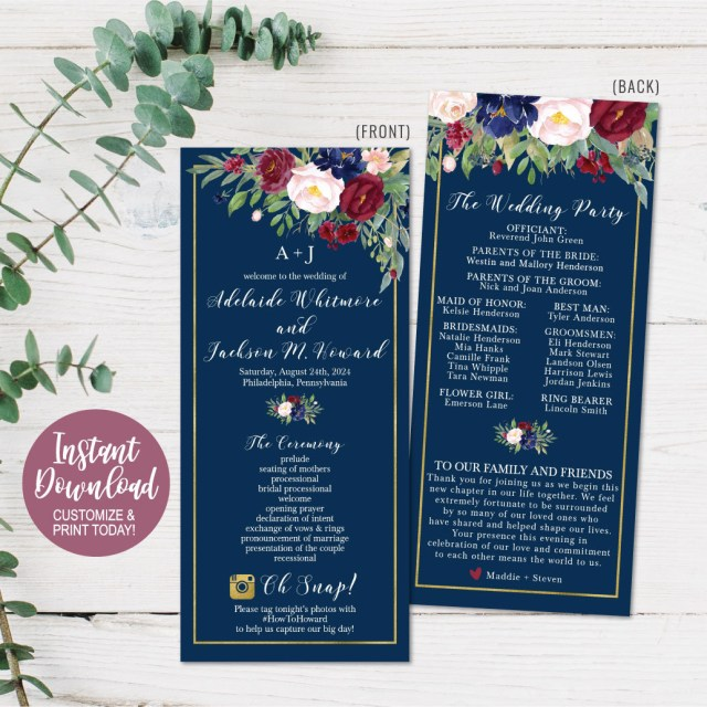 Wedding Program Ideas Diy Printable Wedding Programs Templates Wedding Program Etsy