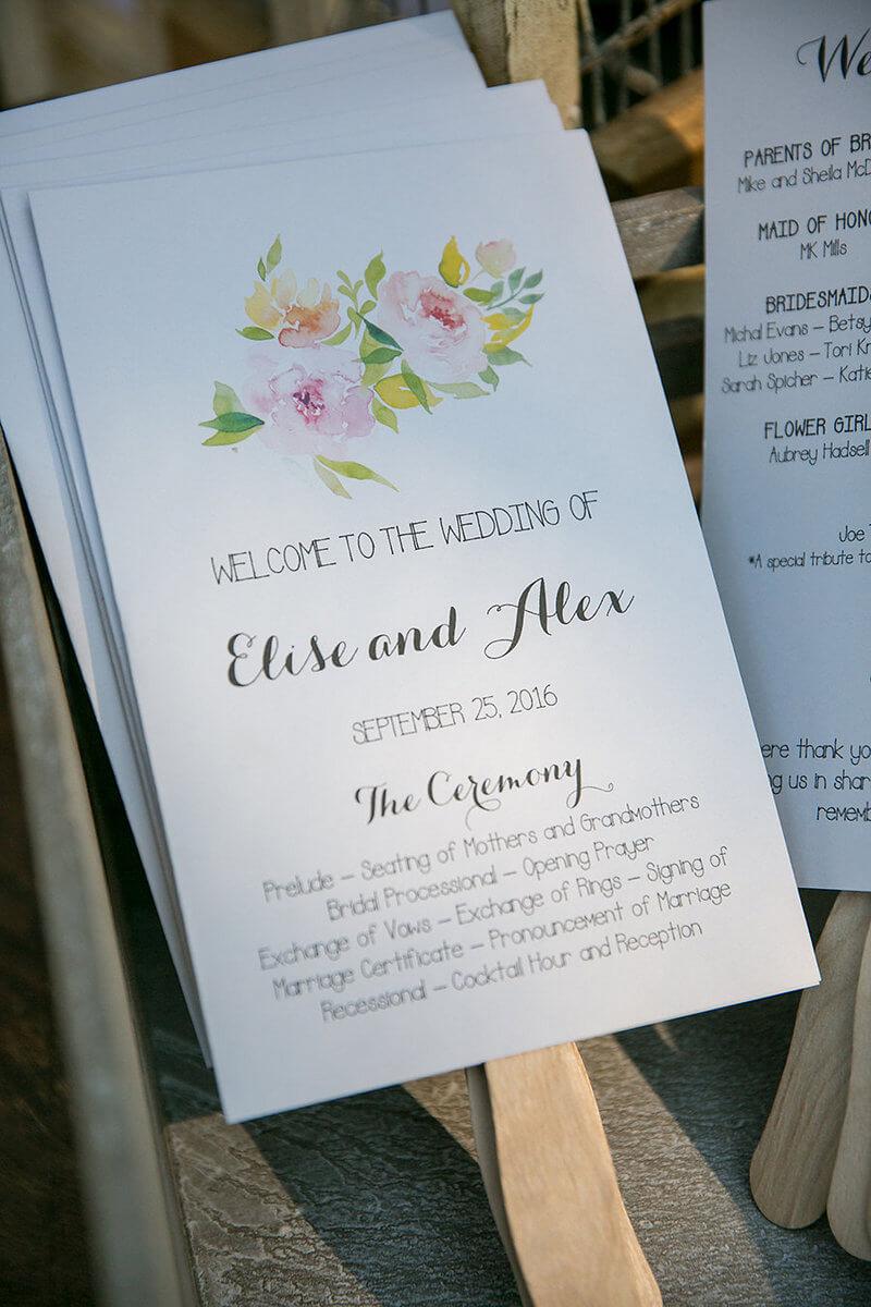 Wedding Program Ideas Elegant Vinewood Wedding Watercolor Floral Wedding Program
