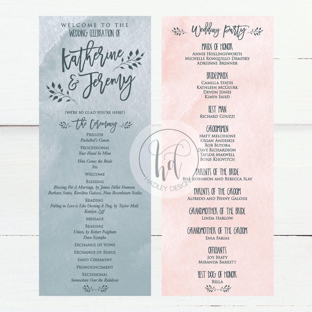 Wedding Program Ideas Hadley Designs Programs