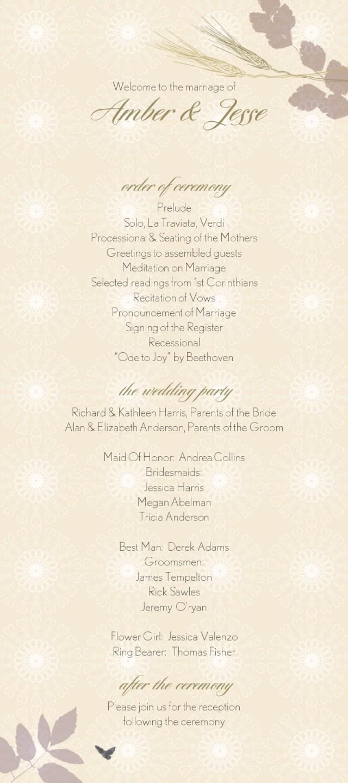 Wedding Program Ideas Wedding Program Wording Wedding Program Copy Wedding Program Text