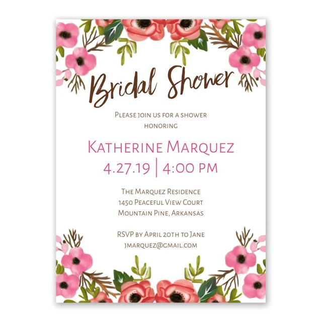 Wedding Shower Invitation Blooming Beauty Bridal Shower Invitation Anns Bridal Bargains