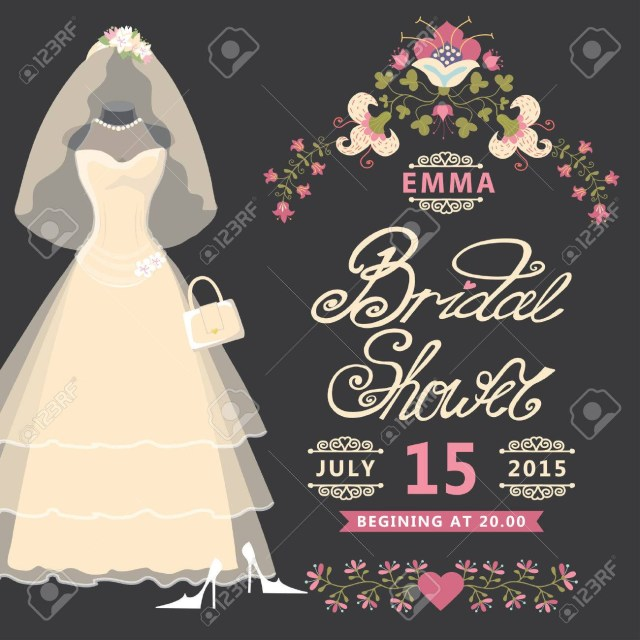 Wedding Shower Invitation Bridal Shower Invitation Vintage Wedding Dress With Flowers Royalty