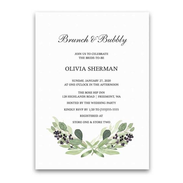 Wedding Shower Invitation Brunch And Bubbly Greenery Purple Bridal Shower Invitation