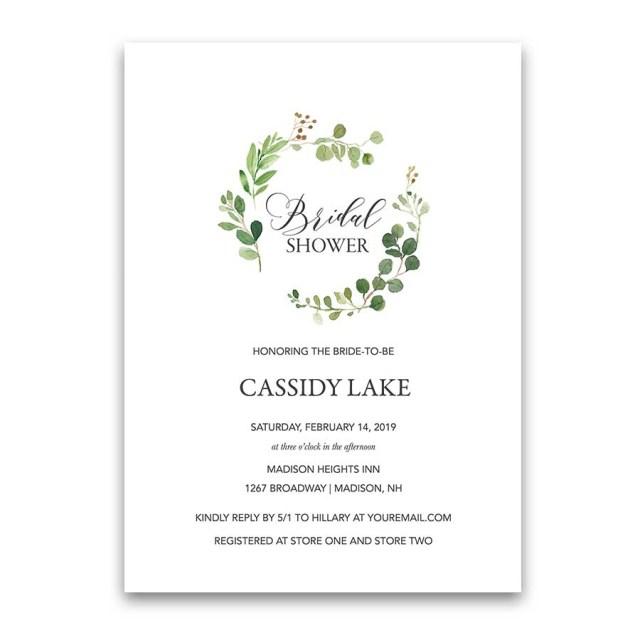 Wedding Shower Invitation Greenery Bridal Shower Invitations Eucalyptus Wreath Modern
