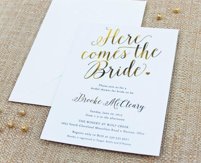 Wedding Shower Invitation Here Comes The Bride Calligraphy Bridal Shower Invitation