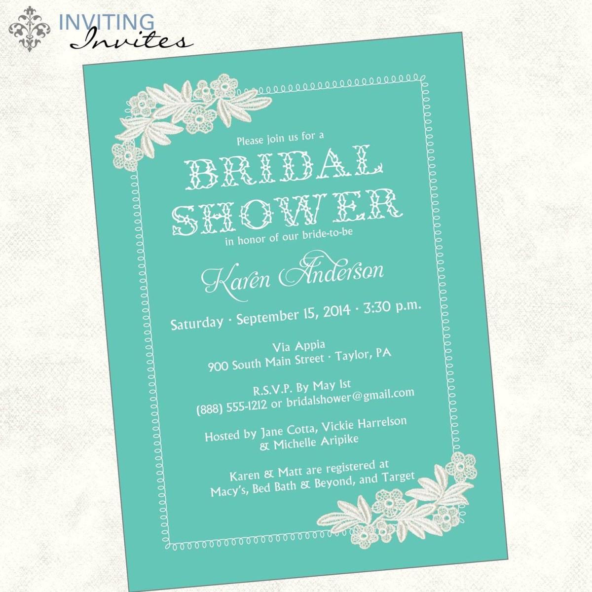 Wedding Shower Invitations Wording Bridal Invitation