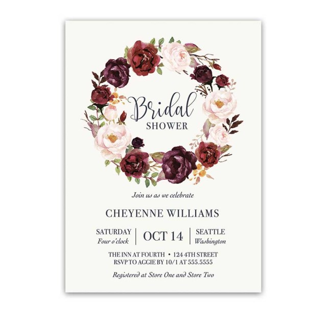 Wedding Shower Invite Burgundy Floral Bridal Shower Invitation Watercolor Wreath