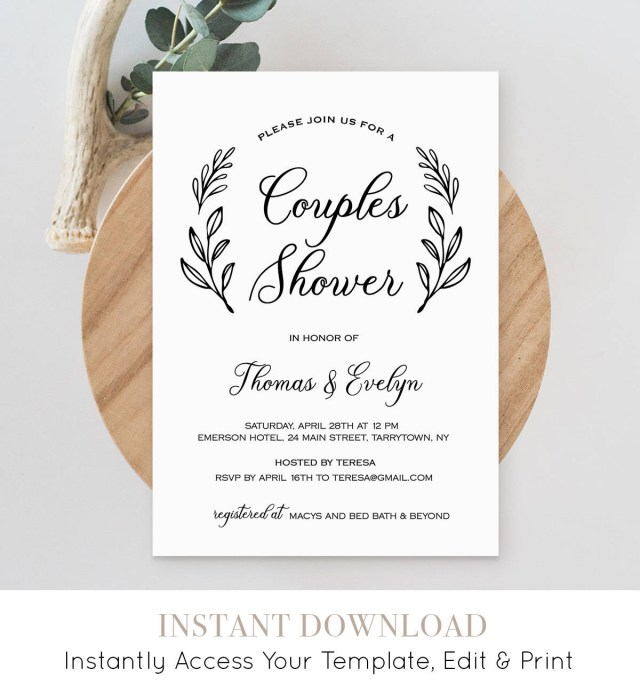 Wedding Shower Invite Couples Shower Invitation Template Printable Wedding Shower Invite