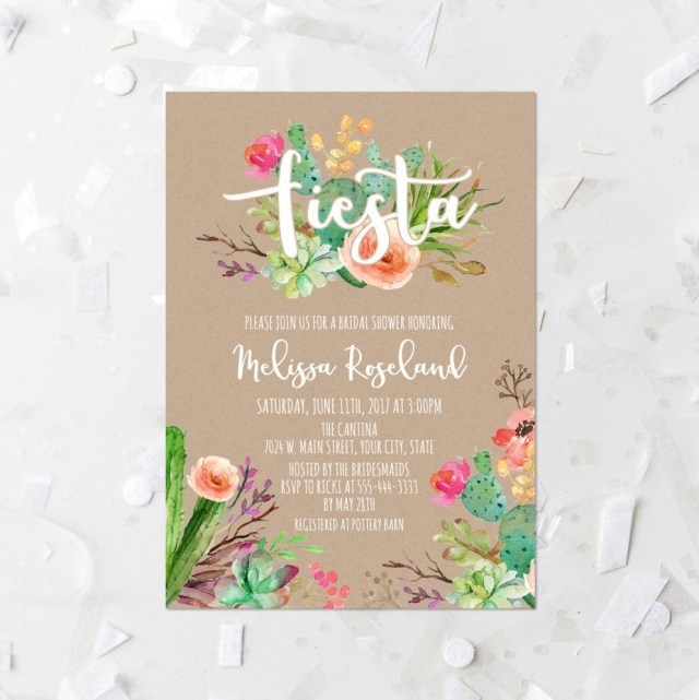 Wedding Shower Invite Fiesta Bridal Shower Invitation Printable Succulent Bridal Shower