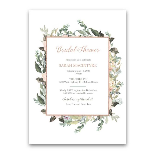 Wedding Shower Invite Peach Blush Floral Greenery Bridal Shower Invitations Geometric