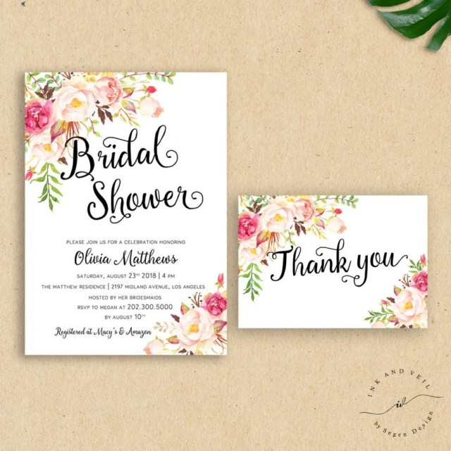 Wedding Shower Invite Romantic Boho Wedding Shower Invitation Floral Bridal Shower Invite