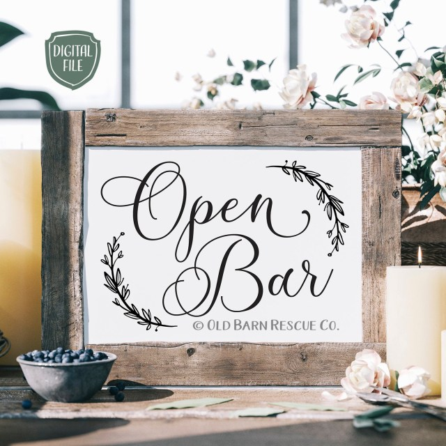 Wedding Signs Diy Open Bar Printable Diy Wedding Signs Downloadable 8 X 10 Etsy