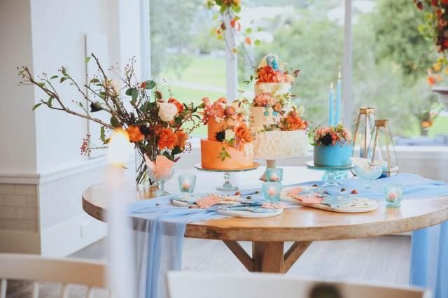 Wedding Styling Ideas 80669 Modern Orange Blue Wedding Styling Ideas At Watsons Bay