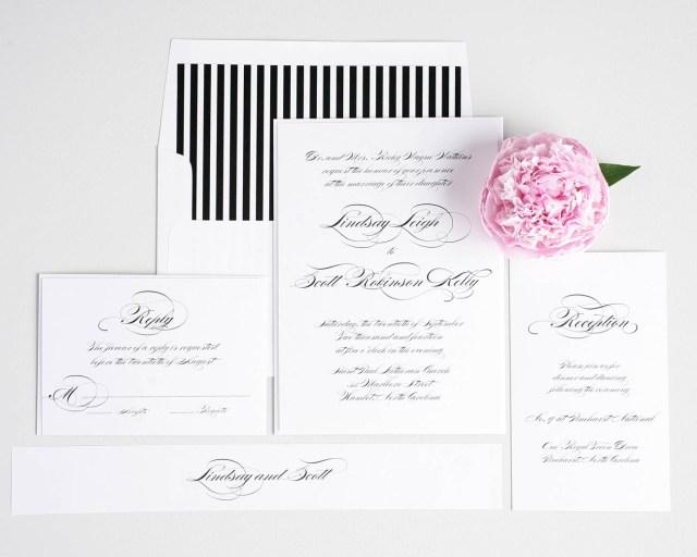 White Wedding Invitations Elegant Black And White Script Wedding Invitations Wedding Invitations