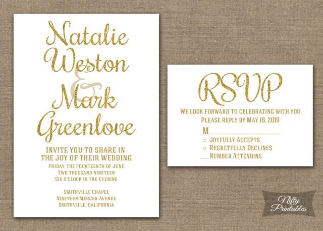 White Wedding Invitations Gold Glitter White Wedding Invitations Nifty Printables