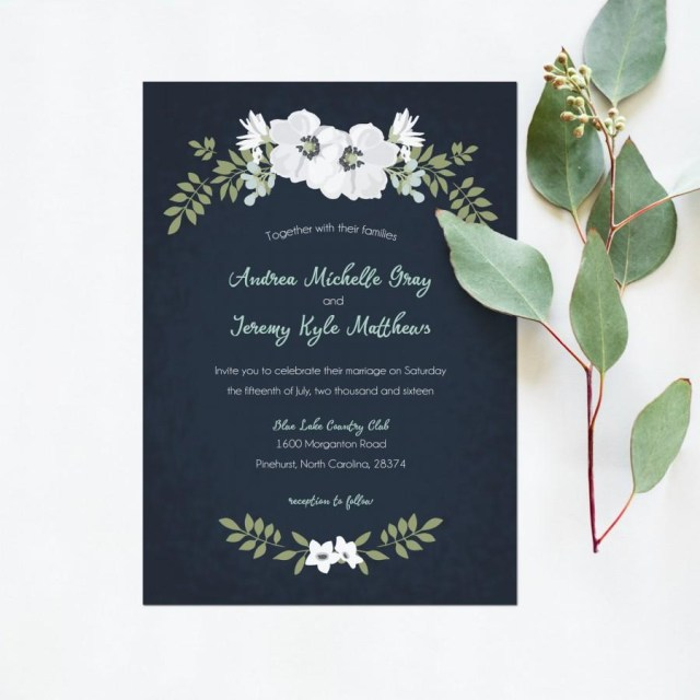 White Wedding Invitations Wedding Invitation Printable Navy Mint White Wedding Invite