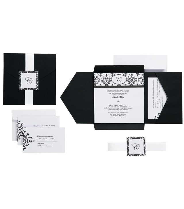 Wilton Wedding Invitation Kits Invitation Kit Makes 25 Black And White Scroll Monogram Joann