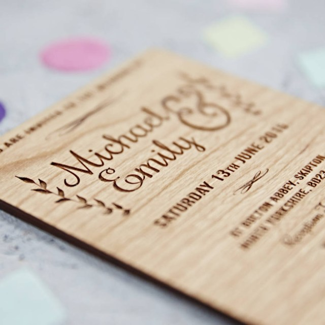 Wood Wedding Invitations Floral Wooden Wedding Invitation Sophia Victoria Joy