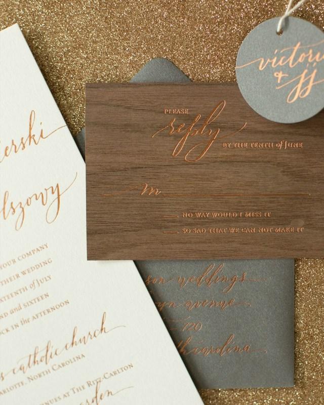 Wood Wedding Invitations Rustic Boho Wood And Copper Foil Wedding Invitations Wedding