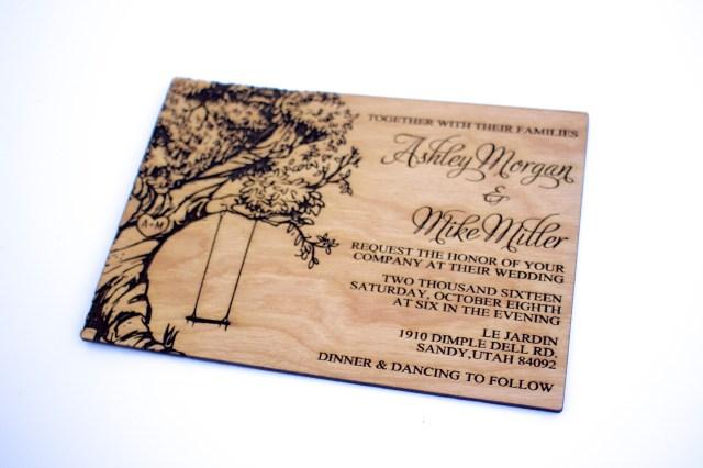 Wood Wedding Invitations Tree With Swing Wooden Wedding Invitation Real Wood Laser