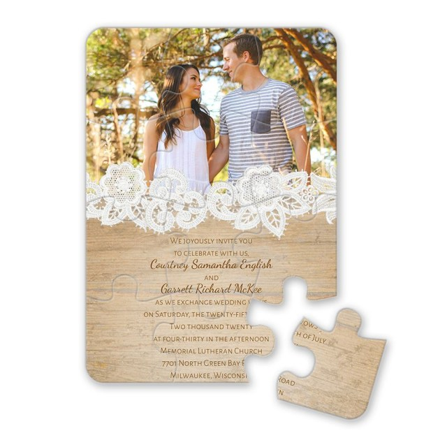Wood Wedding Invitations Wood And Lace Puzzle Invitation Invitations Dawn