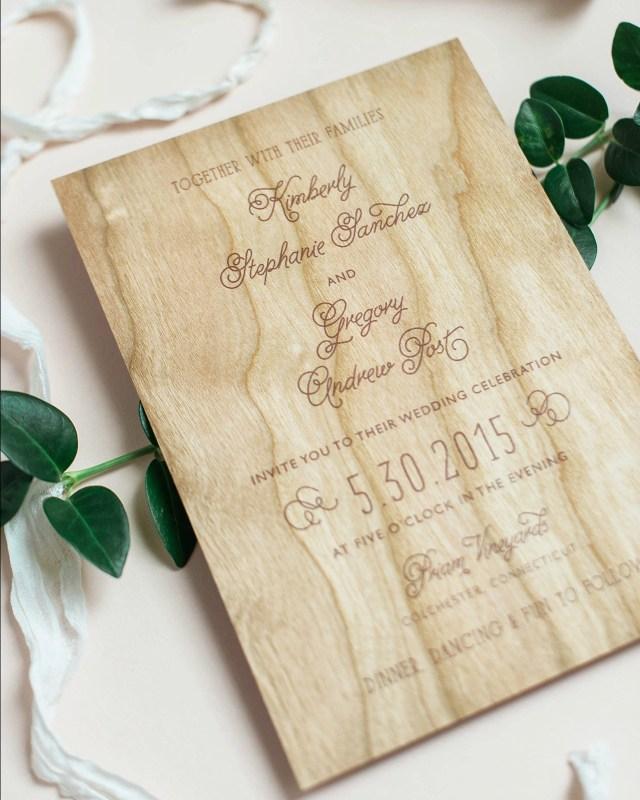 Wood Wedding Invitations Wood Veneer And Watercolor Floral Wedding Invitations