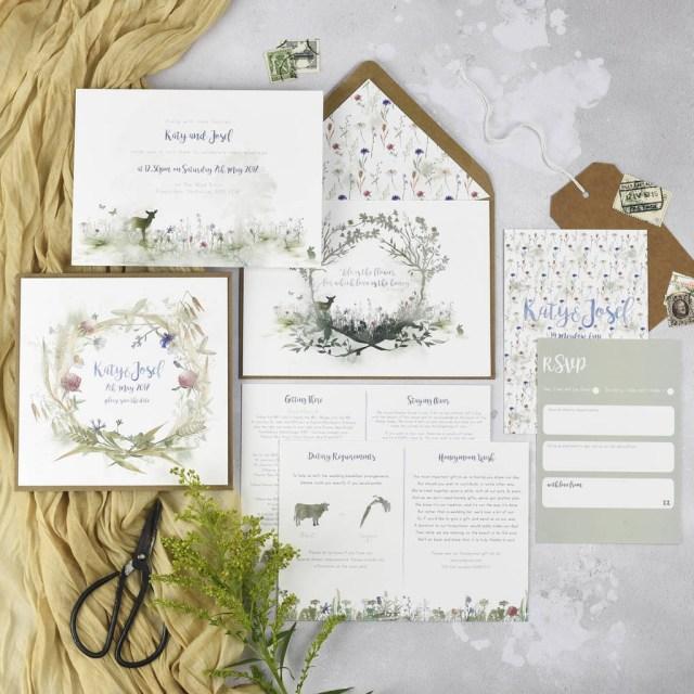 Woodland Wedding Invitations Wildflower Wedding Invitations Julia Eastwood