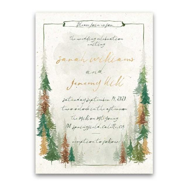 Woodland Wedding Invitations Woodland Forest Wedding Invitations Watercolor Trees Handwriting