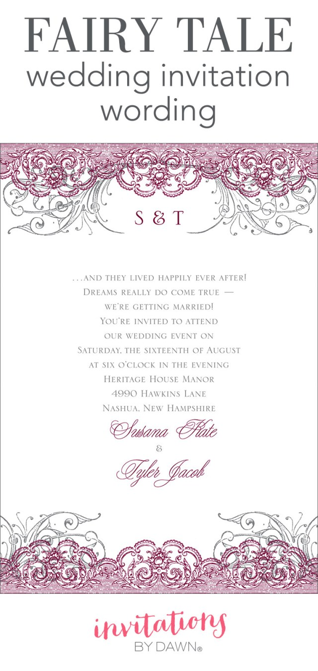 Wording Wedding Invitations Fairy Tale Wedding Invitation Wording Invitations Dawn