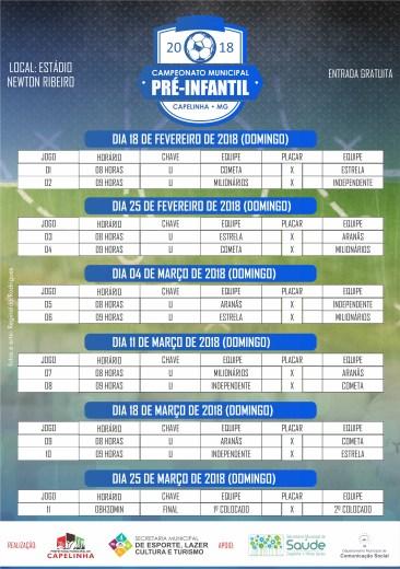 Tabela Campeonato Municipal Pré-Infantil