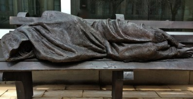 Homeless Jesus statue outside of Regis College