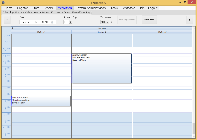 Event scheduling within ThunderPOS