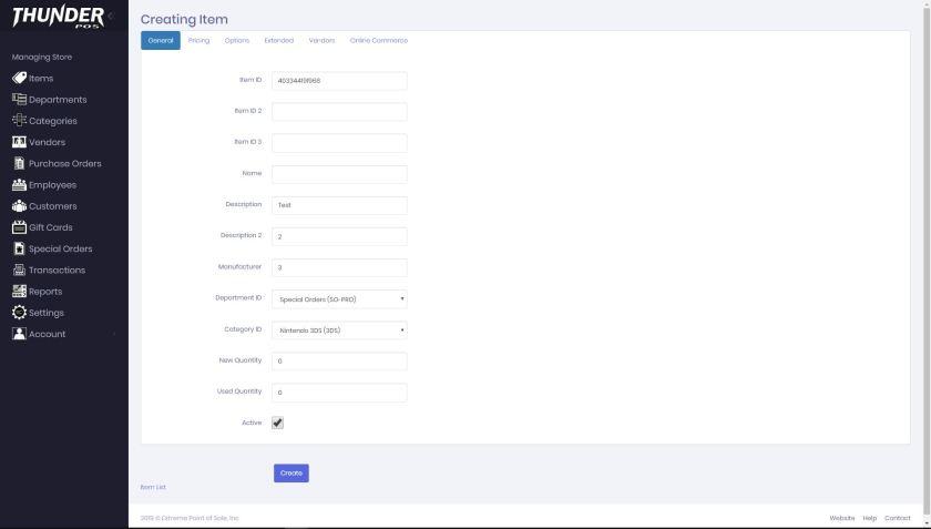 Desktop Item Create