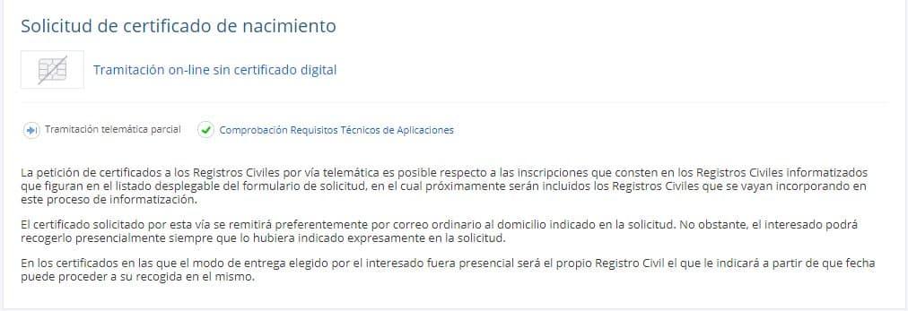 Solicitud Certificado Nacimiento Sin Certificado Digital