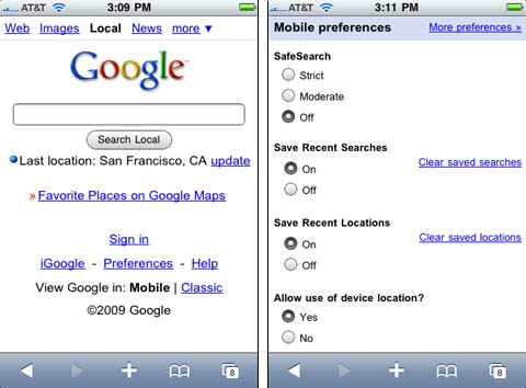 Google's location-based iPhone search capability