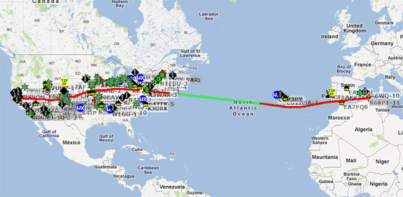 The track of K6RPT-11 on aprs.fi