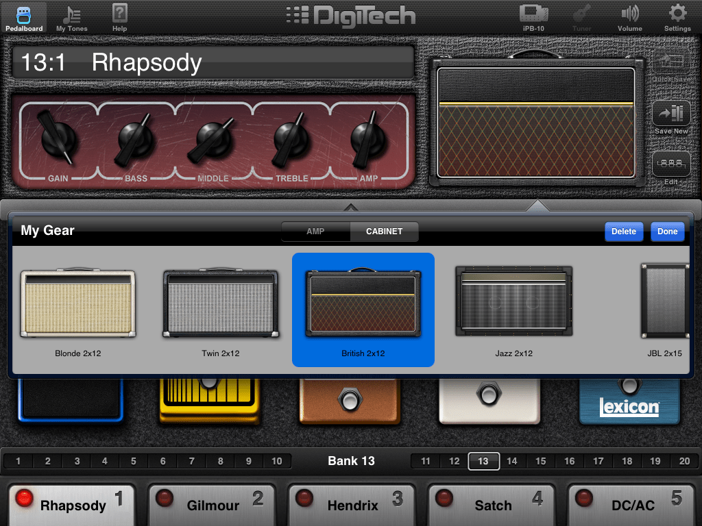 Digitech iPB10 guitar effects pedalboard for iPad  The