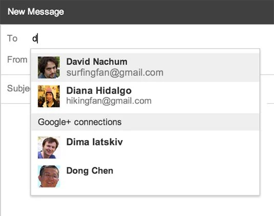 Gmail's new Google+ contact hints