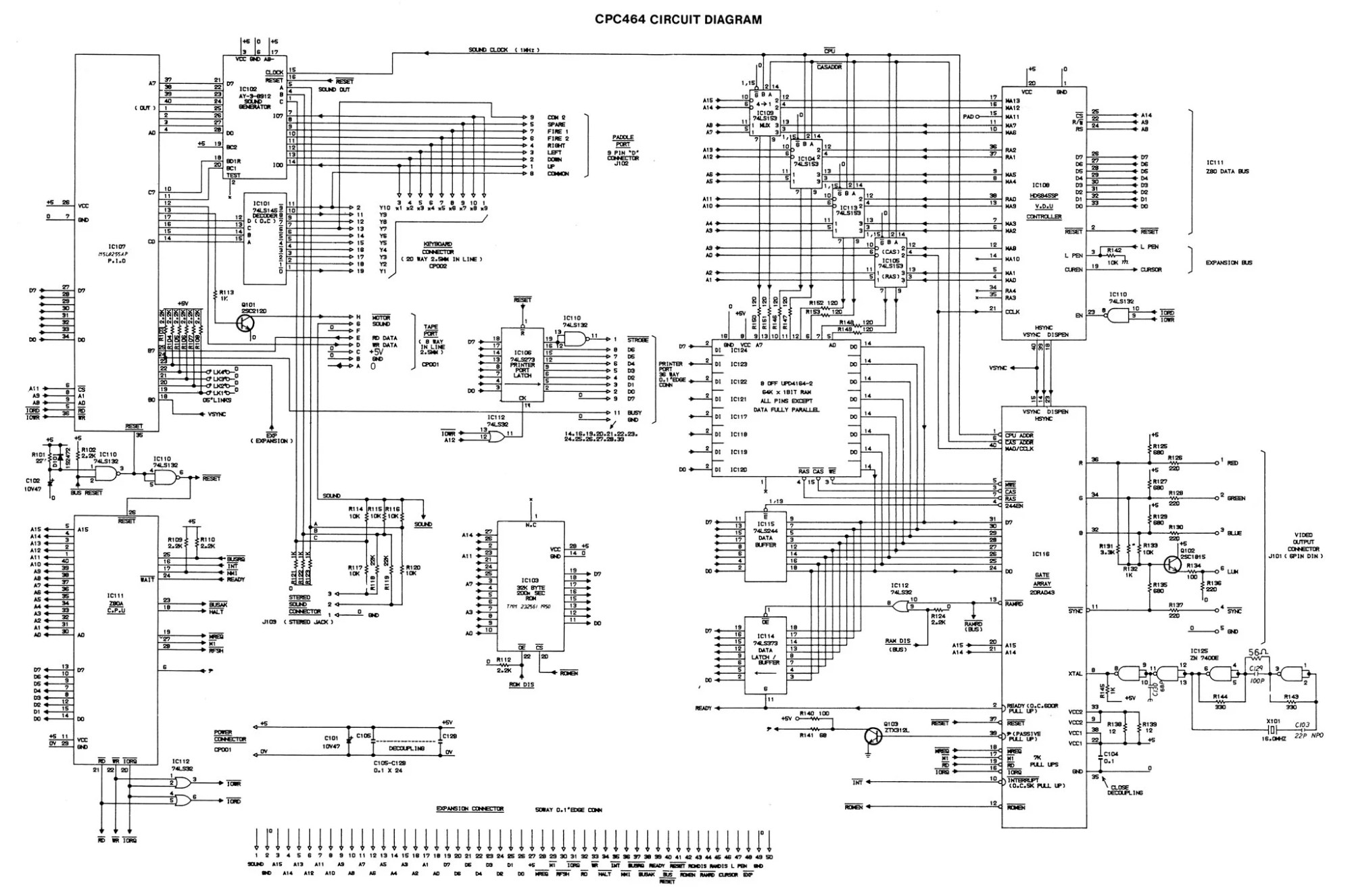 hight resolution of amstrad cpc 464 schematic