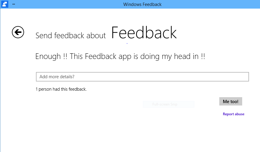Windows 10 feedback tool