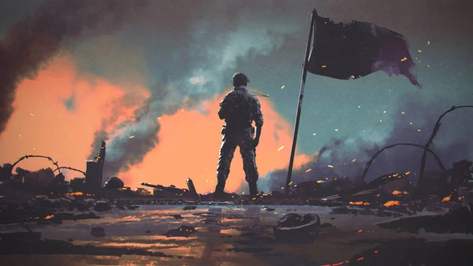 Illustration of a battlefield, post-war